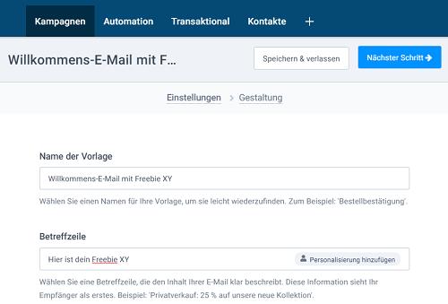 Vorlage E-Mail erstellen für Freebie Link