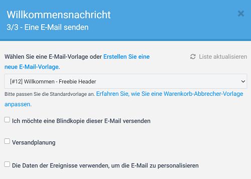 E-Mail-Vorlage auswählen, 3. Schritt im Workflow Willkommensnachricht