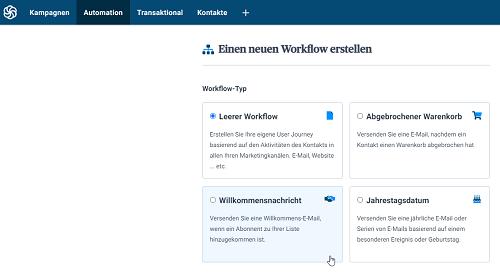 Sendinblue neuer Workflow erstellen Willkommensnachricht für Freebie versenden