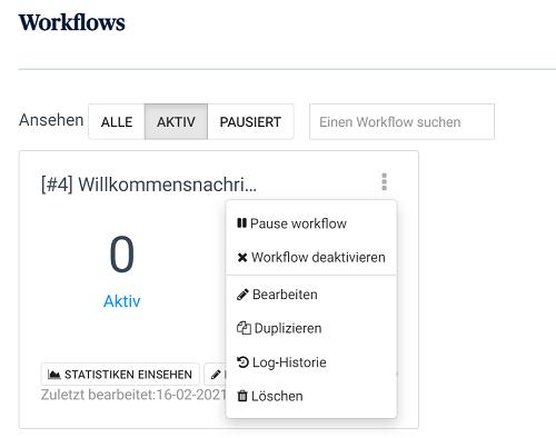 Überblick Workflow, Änderungen, Pausen und Statistiken