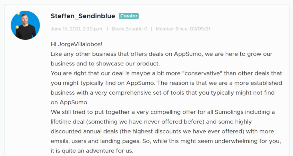 Kommentar von Sendinblue auf AppSumo lifetime deal kosten
