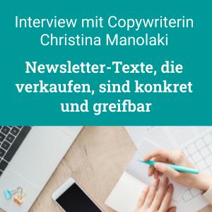 Interview: Newsletter-Texte, die verkaufen, mit Christina Manolaki
