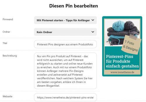 Pinterest Pin optimieren Titel und Beschreibung